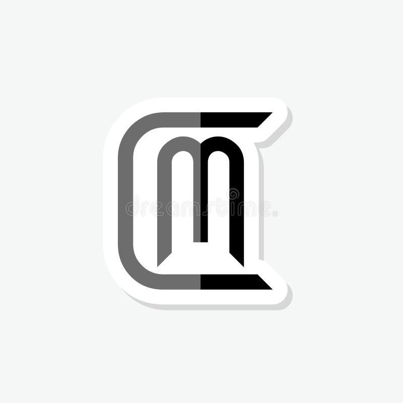 CM C M Letter Sticker Logo Design в черных цветах бесплатная иллюстрация