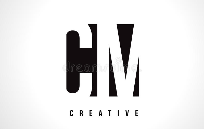 CM C M White Letter Logo Design com quadrado preto ilustração royalty free