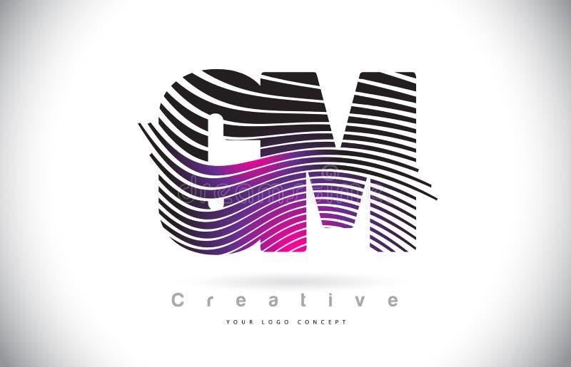 Cm C M Zebra Texture Letter Logo Design With Creative Lines och royaltyfri illustrationer