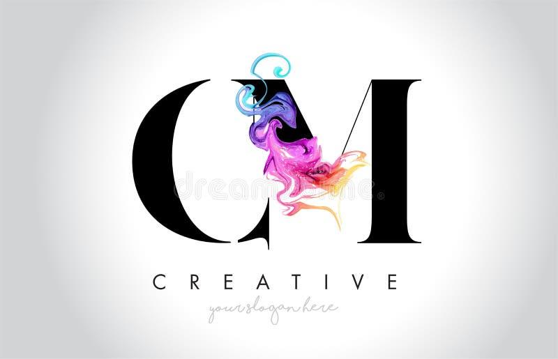 CM Leter criativo vibrante Logo Design com tinta colorida Fl do fumo ilustração royalty free