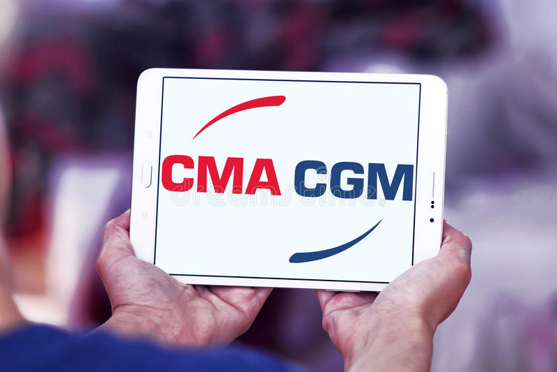 Cma cgm运输公司商标 免版税图库摄影