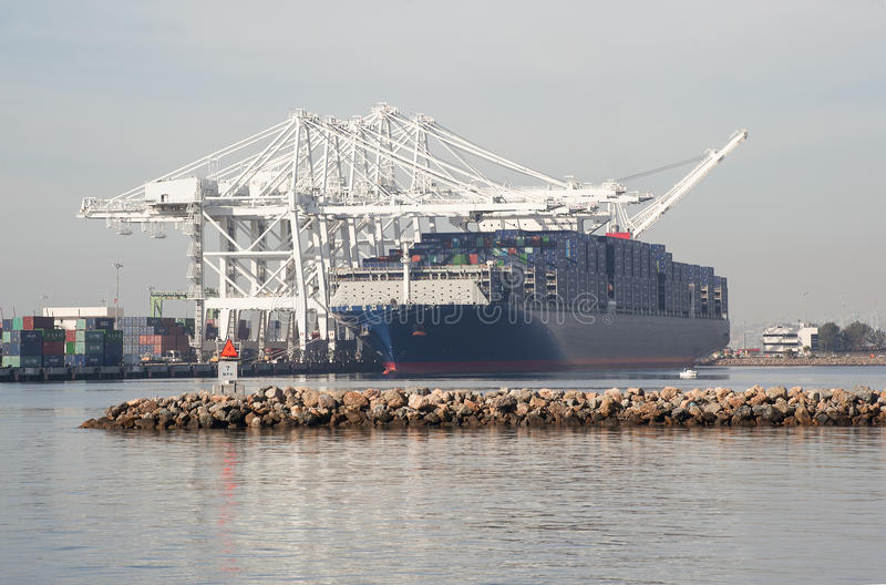 Known as the Benjamin Franklin; one of the largest cargo container vessels. Largest vessel to call the United States ..Cargo container docked in the port of Los royalty free stock photography