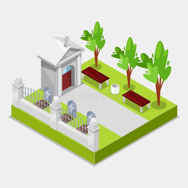 Cmentarniani pojęcia 3d Isometric widoku elementy grób z krzyżem i gravestone Wektorowa ilustracja cmentarz i royalty ilustracja
