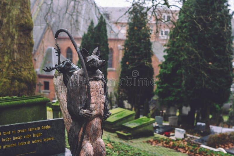 Cmentarniani zabytki i grobowowie w Ghent, Belgia zdjęcia stock