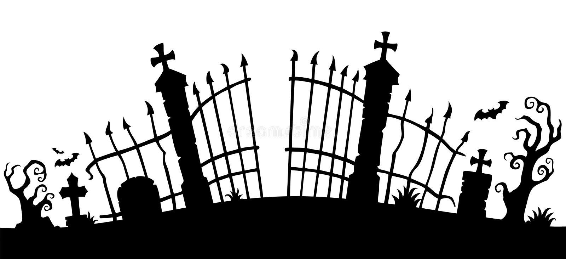 Cmentarniany bramy sylwetki temat 1 ilustracja wektor