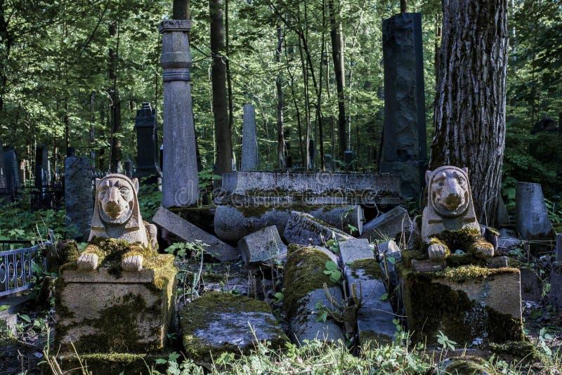 Cmentarniany stary granitowy lew ruin światła dziennego lato zdjęcie royalty free