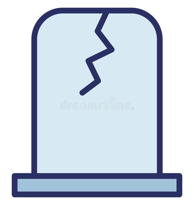 Cmentarz, chrześcijaństwo Odizolowywał Vec cmentarz, chrześcijaństwo Odizolowywająca Wektorowa ikona która kantor ikona która moż royalty ilustracja