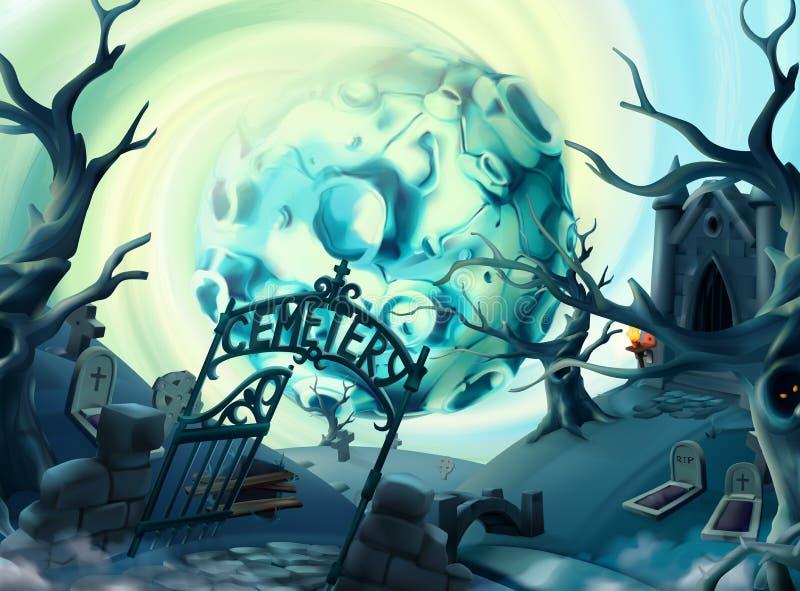 Cmentarz, Halloween tło 3d wektorowe grafika royalty ilustracja