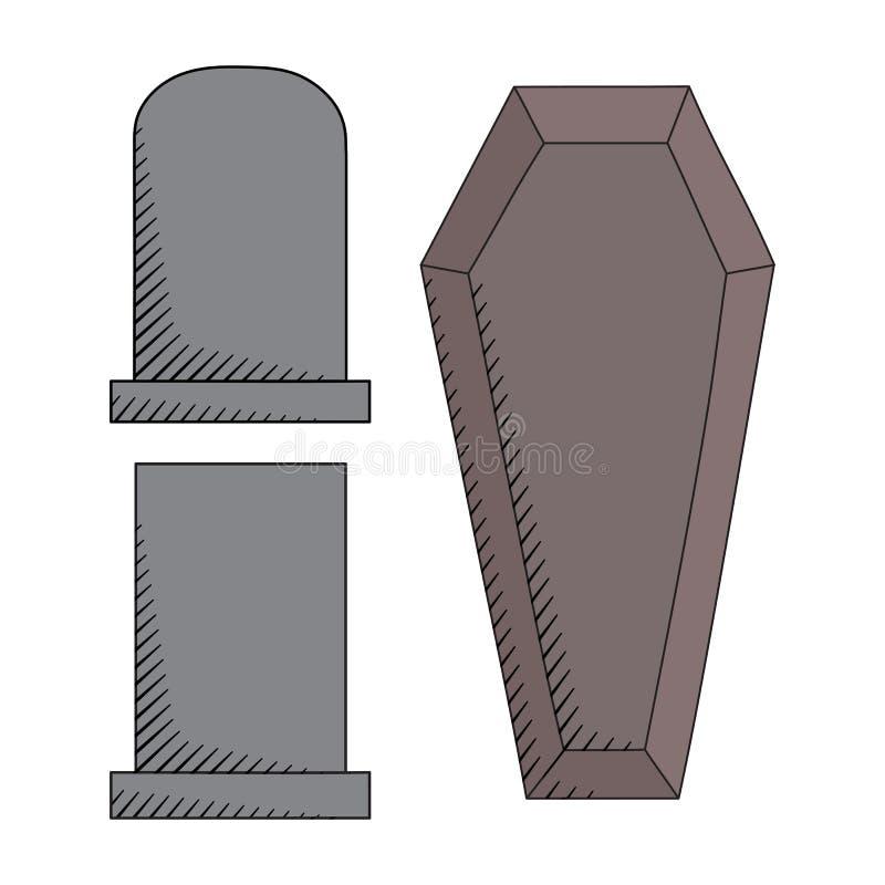 Cmentarz ikony ustawiać zdjęcie stock