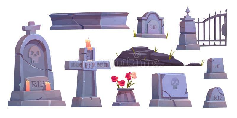 Cmentarz, nagrobek cmentarny, bramka metalowa ilustracji