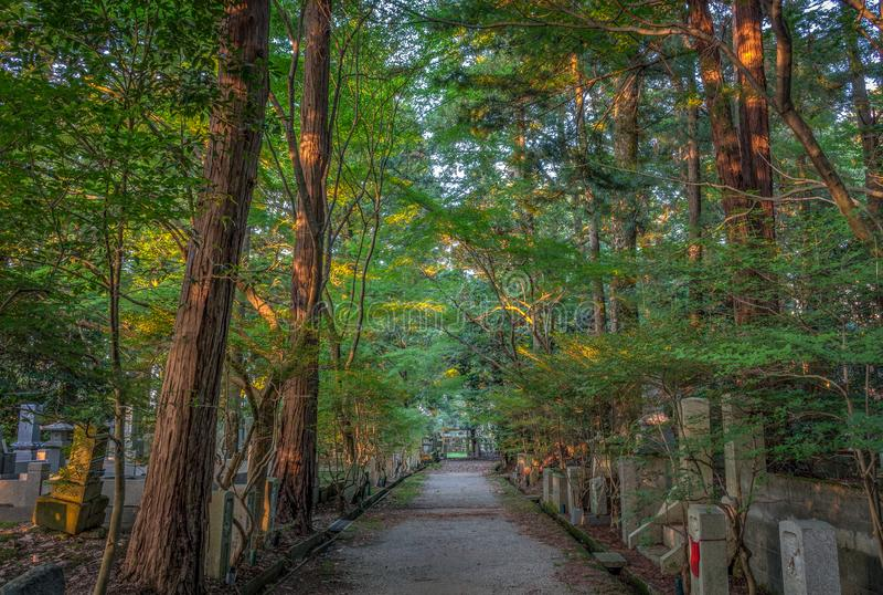 Cmentarz przy zmierzchem, Kanazawa, Ishikawa prefektura, zdjęcia stock