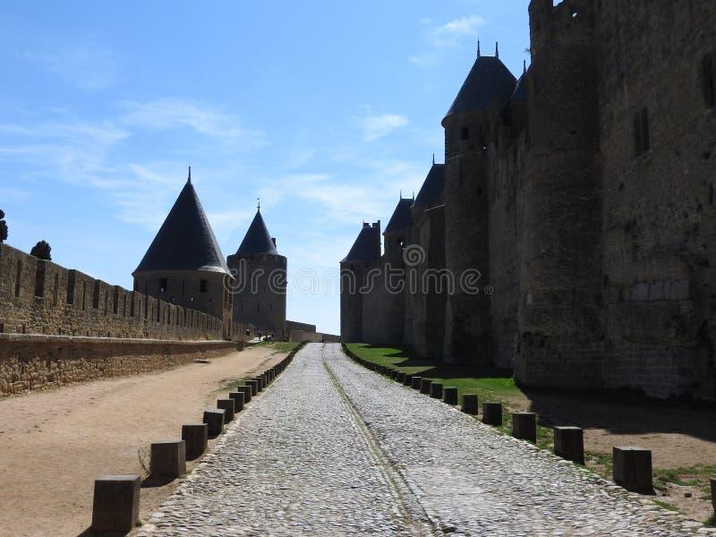 Cmentarz w antycznym mieście Carcassonne zdjęcie stock