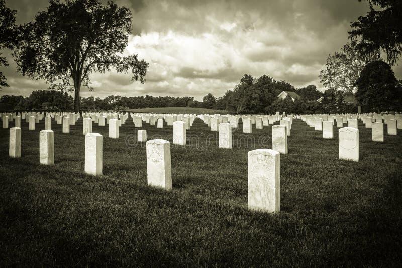 Cmentarz W Czarny I Biały zdjęcia stock