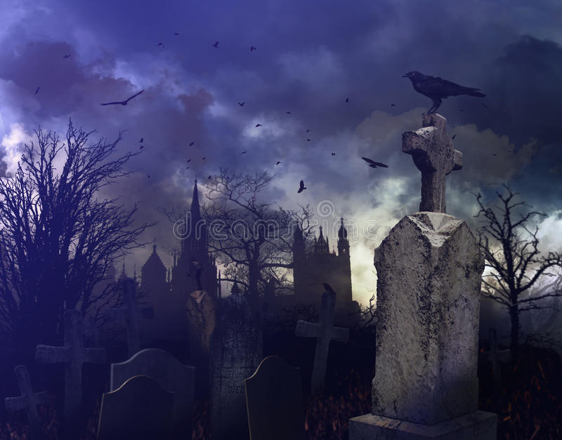 cmentarza noc scena straszna ilustracja wektor