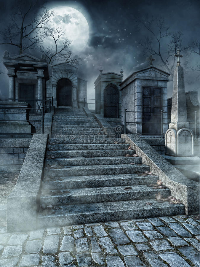 Cmentarzy schodki ilustracji