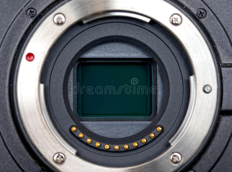 CMOS sensor. Closeup of CMOS sensor inside mirrorless compact digital camera (micro four thirds royalty free stock photos