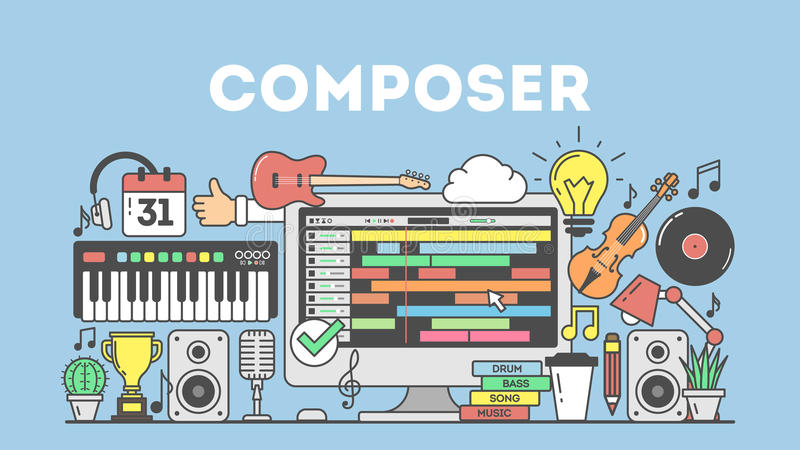 Cmposing music concpet illustration. Cmposing music concpet illustration on blue background stock illustration