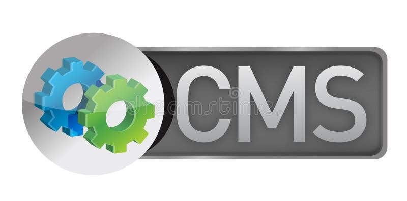 CMS齿轮。美满的管理系统概念 向量例证