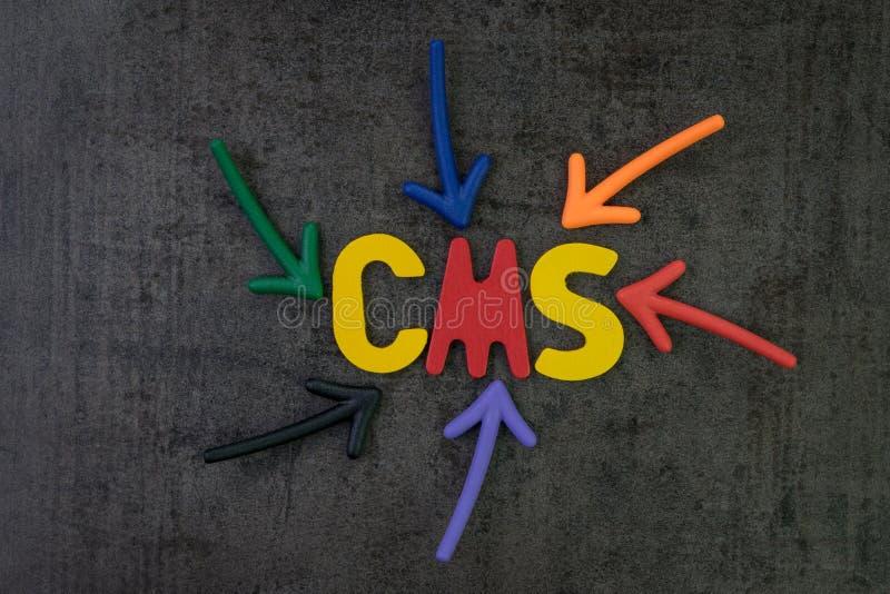 CMS, содержимая концепция системы управления, multi стрелки цвета указывает стоковое изображение rf