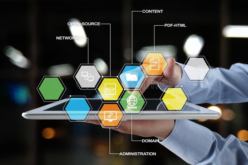 CMS. Content management system applications icons on virtual screen. Business, internet and technology concept. stock image