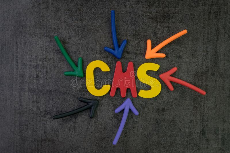 CMS, Content management system concept, multi color arrows point royalty free stock image