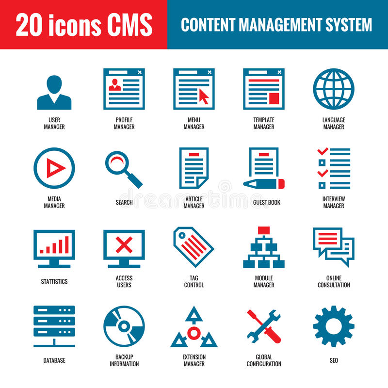 CMS - Content Management-System - 20 Vektorikonen SEO - Suchmaschinen-Optimierungs-Vektorikonen lizenzfreie abbildung
