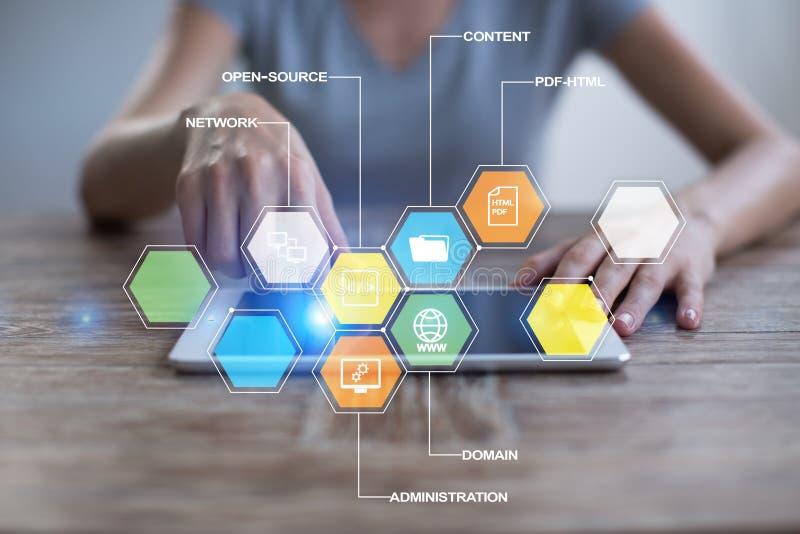 CMS De pictogrammen van het systeemtoepassingen van het inhoudsbeheer op het virtuele scherm Zaken, Internet en technologieconcep royalty-vrije stock afbeeldingen