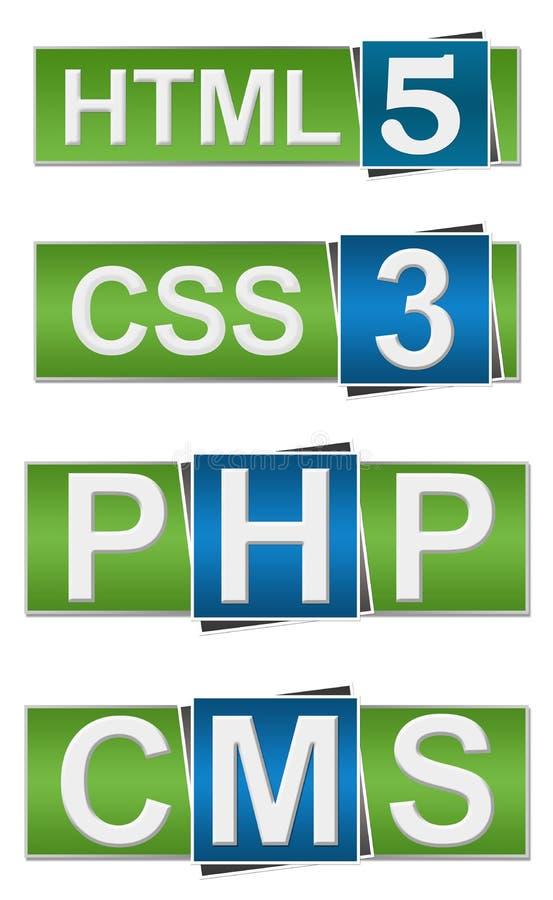 CMS DO PHP DO HTML CSS ilustração stock