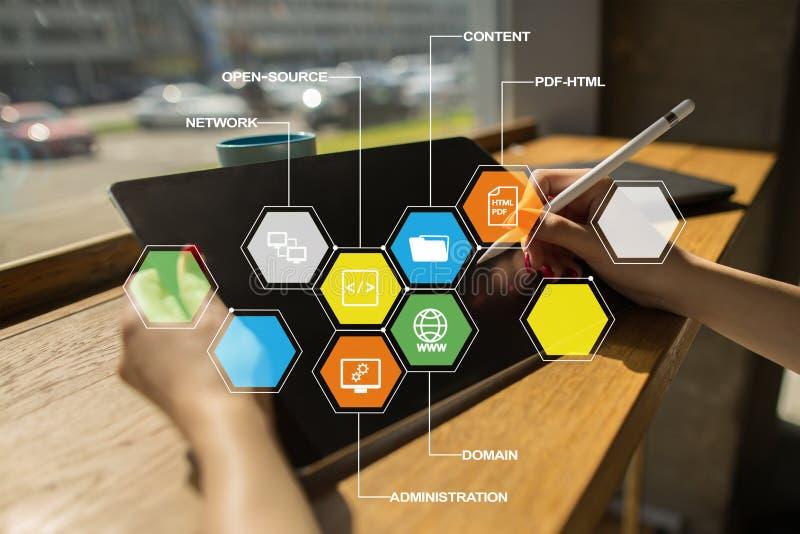 CMS Iconos contentos de los usos de sistema de gestión en la pantalla virtual Concepto del negocio, de Internet y de la tecnologí foto de archivo