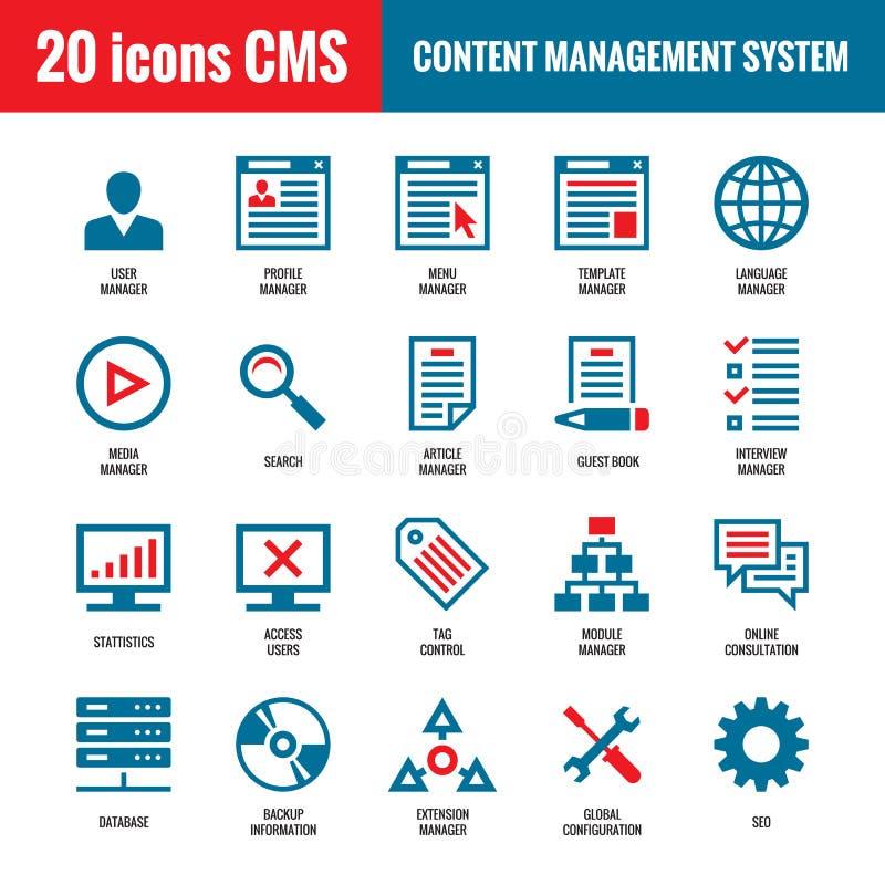 CMS - Nöjt ledningsystem - 20 vektorsymboler SEO - Symboler för vektor för sökandemotorOptimization royaltyfri illustrationer