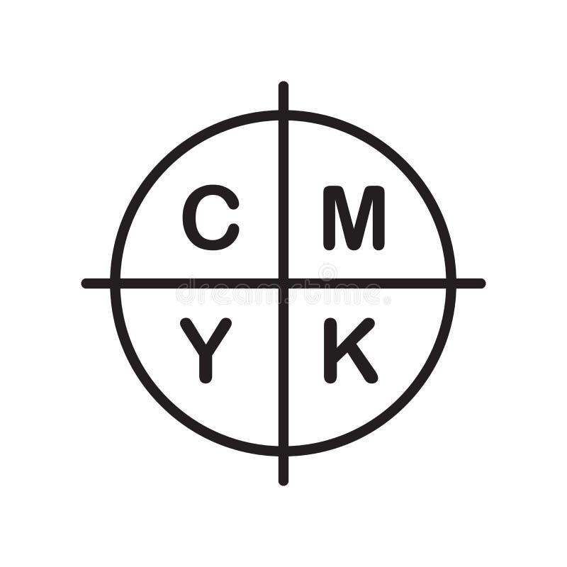 Cmyk在白色背景隔绝的象传染媒介,Cmyk标志,线 皇族释放例证