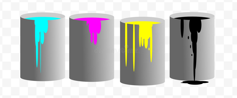 CMYK墨水油漆装传染媒介商标例证于罐中 皇族释放例证