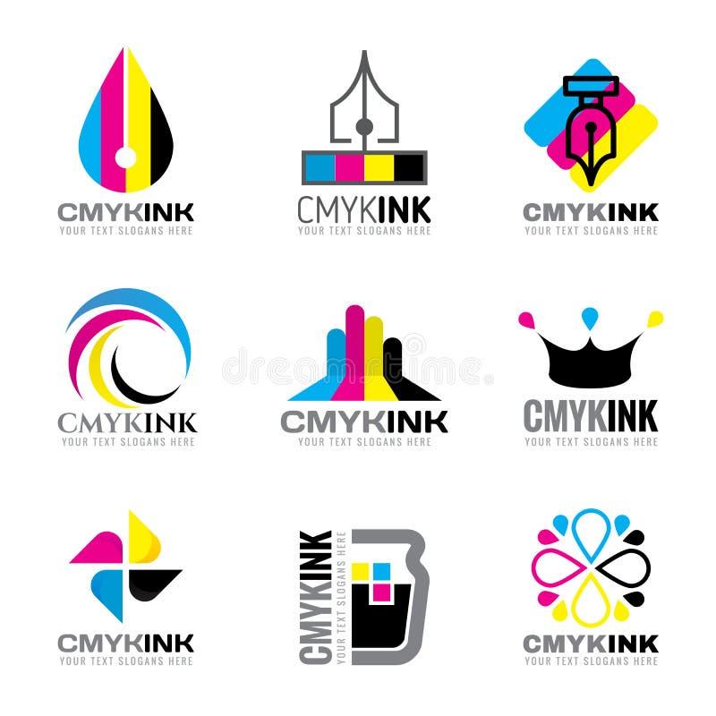 CMYK墨水商标传染媒介布景深蓝和洋红色和黄色和关键(黑)颜色 皇族释放例证