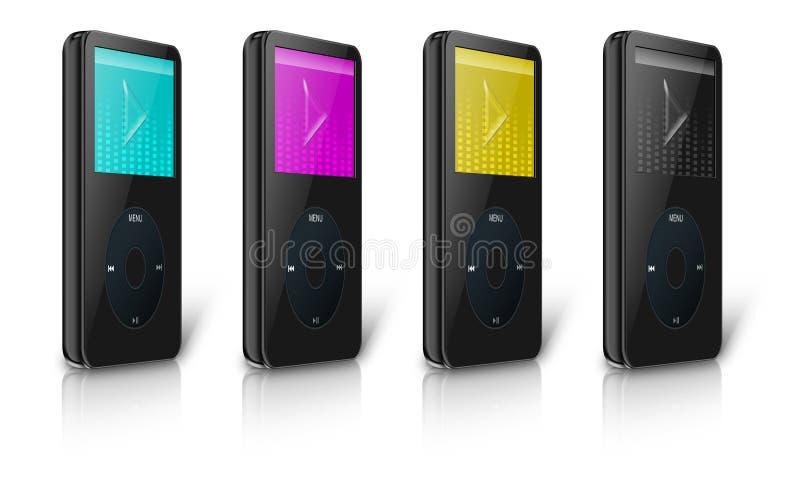 Cmyk现代MP3/MP4多媒体播放机 向量例证