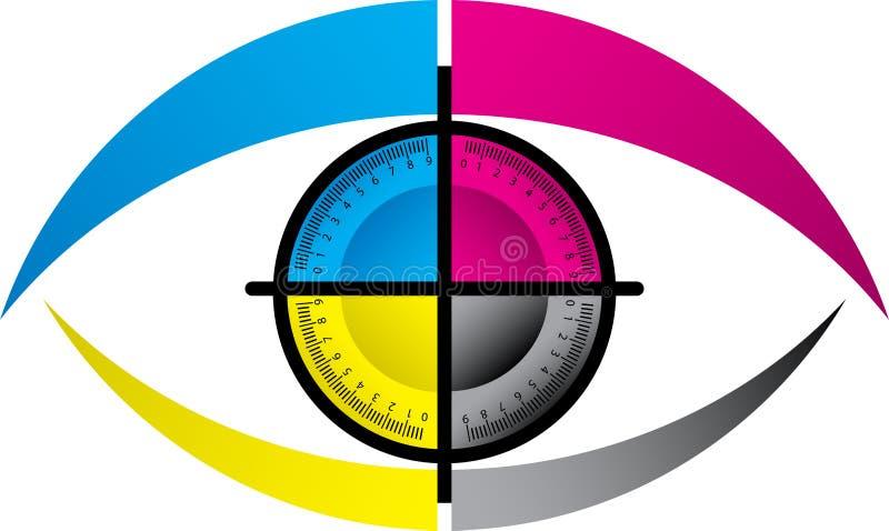 CMYK眼睛徽标 库存例证