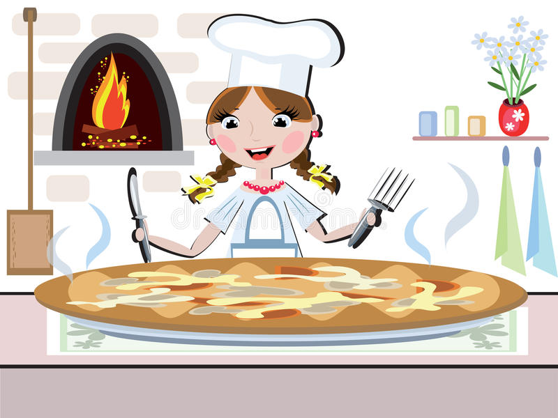 cmyk μαγειρεψτε το κορίτσι απεικόνιση αποθεμάτων