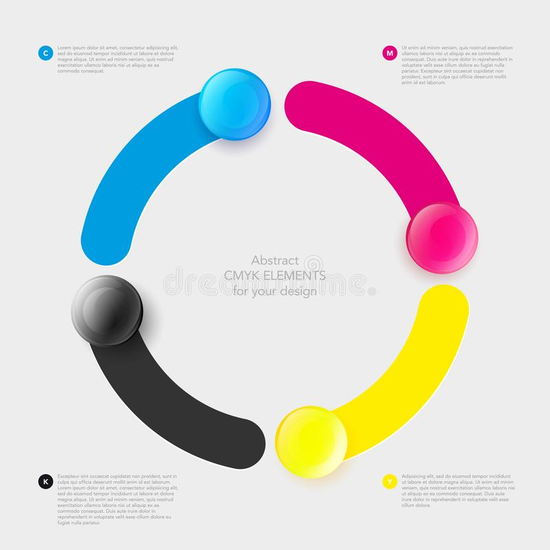CMYK background with stripes and glossy buttons in circle shape stock photo