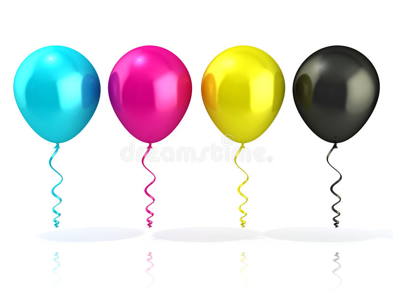 Cmyk balloons_white vector illustratie