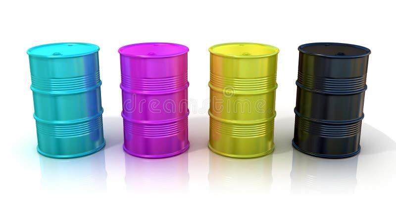 CMYK barrels isolated on white background. Concept of inkjet printing and desk book publishing vector illustration