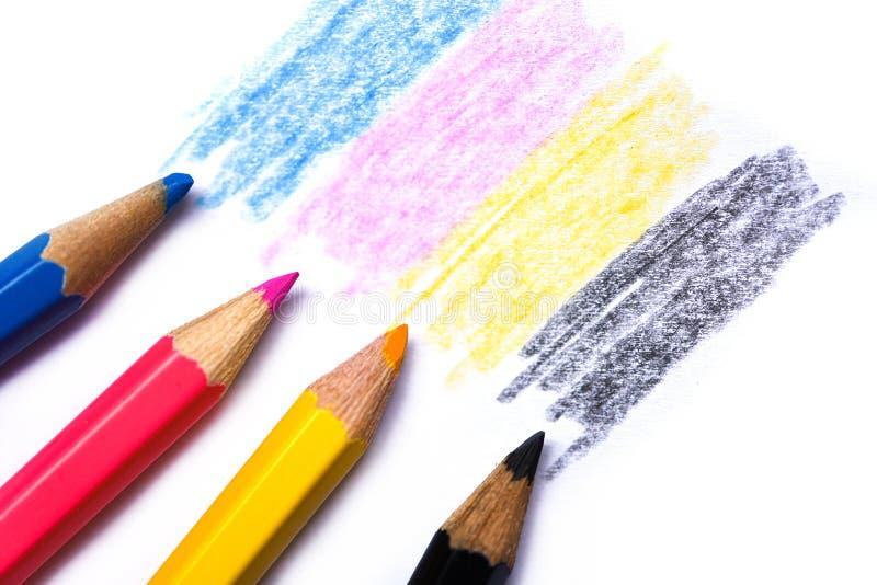 Cmyk begrepp - träfärgpennatextur med cyan blåa röda magentafärgade gula och svarta teckningar på vitbokbakgrund arkivbild