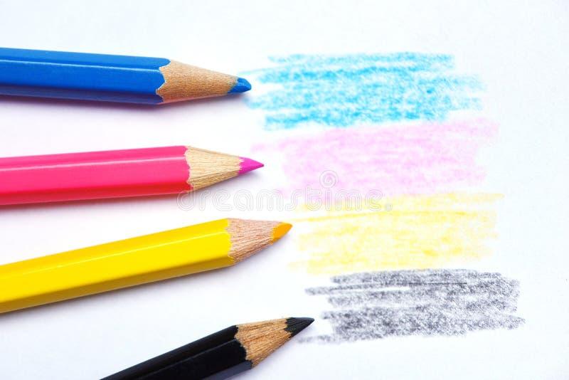 Cmyk begrepp - träfärgpennatextur med cyan blåa röda magentafärgade gula och svarta teckningar på vitbokbakgrund royaltyfri foto