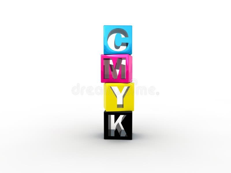 CMYK boxes vector illustration