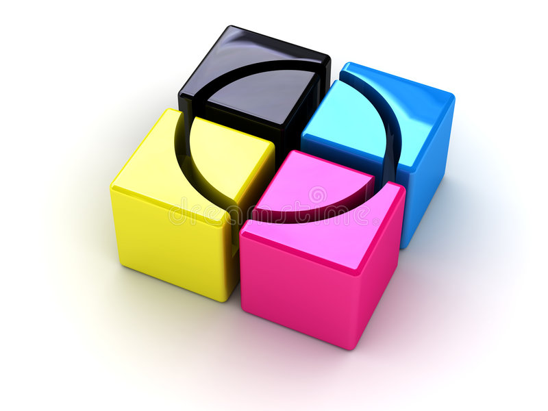 CMYK boxes with a cross stock illustration