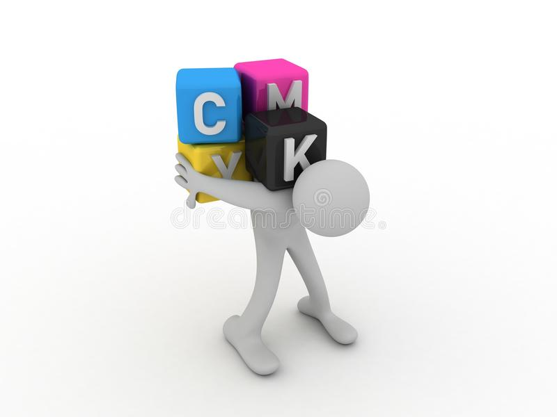 Cmyk boxes and porter royalty free illustration