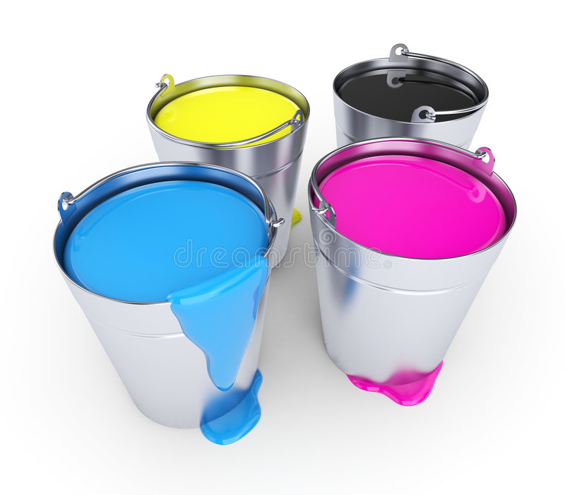 CMYK - Buckets with a paint. Buckets with a paint, isolated on white royalty free stock photo