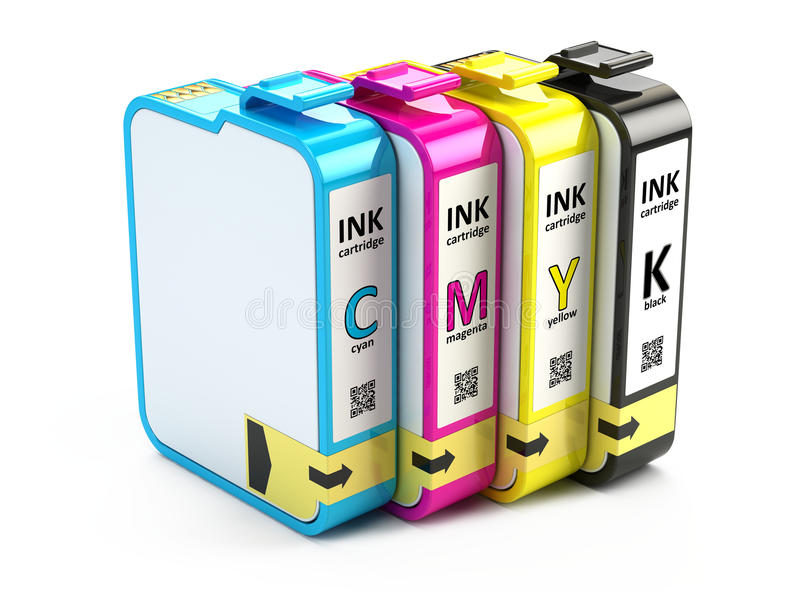 CMYK cartridges vector illustration