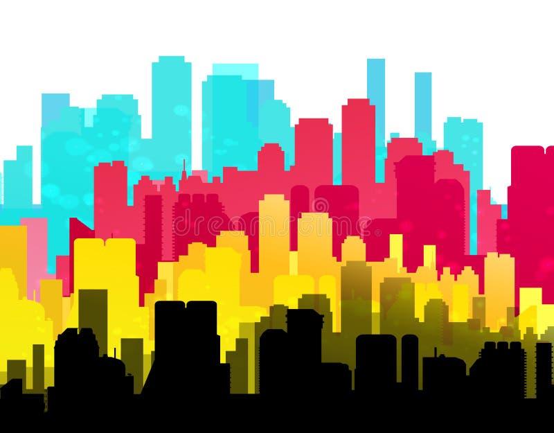 CMYK city print service background stock illustration