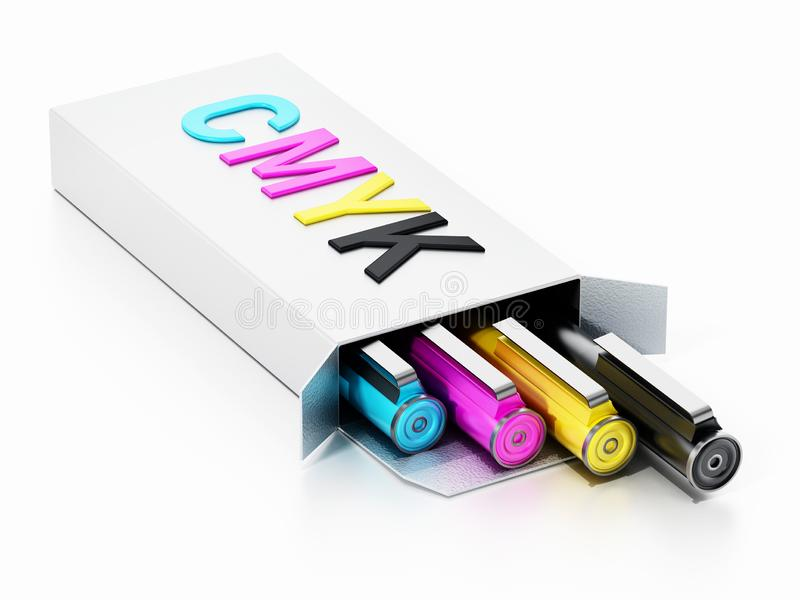 CMYK color pens inside white box. 3D illustration stock illustration