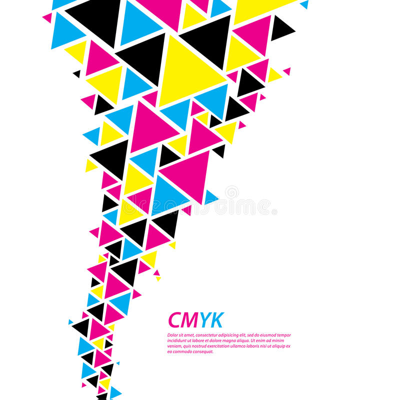 CMYK color profile. Abstract triangle flow - twister in cmyk col stock illustration