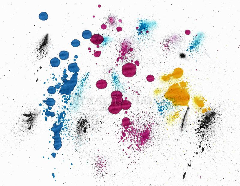 CMYK color spots on white Background 库存图片